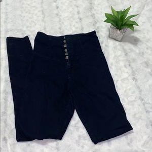 Super high waist black jeans pants